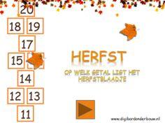 Digibordles: Herfstblaadjes Er ligt een herfstblaadje op een cijfer. De kinderen klikken op het cijfer waar het blaadje opligt.  http://www.digibordonderbouw.nl/index.php/themas/herfst/herfstalgemeen/viewcategory/170