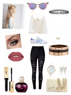 """""""Love you guys"""" by michelle-martinez890 on Polyvore featuring adidas, Chanel, Fendi, Jules Smith, Cartier, Accessorize, Kendra Scott and Smashbox"""