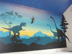 JURASSIC BEDROOM MURAL jurassic park new york city prehistoric mural hand painted interior design child children kids bedroom home renovation ideas night sky sunset shadow color blocking stars tree night sky galaxy nebula NYC (347) 223-7533   info@muralpainternyc.com www.muralpainternyc.com