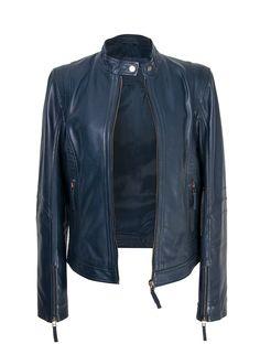 Navy Blue Leather jacket . Zerimar Spain Chaqueta piel azul marino