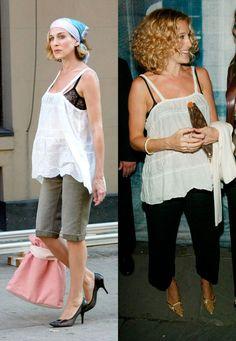 Blusa blanca ¿Todavía no creéis que Sarah se inspira en Carrie? Mirar este look con top blanco y sujetador negro a la vista