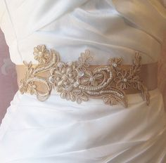 Champagne Lace Bridal Sash Tan Lace Bridal Belt por TheRedMagnolia