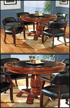 Tournament Dining Table With Black Top