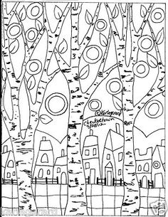 RUG HOOKING PAPER PATTERN Checkered Town FOLK ART PRIM Abstract Karla Gerard