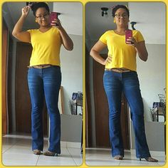 Hoje o estilo é básico com camiseta amarela de algodão, afro puff finalizado com um lenço bem colorido, brinco de creche em formato de florzinha, calça jeans flare com lavagem mais escura e scarpin animal print. Tá alegre, tá informal e tá confortável.  Do jeito que eu gosto. Beijos!