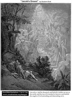 Jacob sees a ladder between earth & heaven; angels going up & down on it.