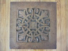 c1900 Hand Carved Arts & Crafts Oak Plant Stand Table