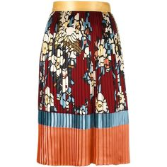 Dsquared2 'Cherry Blossom' pleated mid-length skirt ($1,470) ❤ liked on Polyvore featuring skirts, red, red pleated skirt, pleated skirt, mid length pleated skirt, mid length skirts and striped skirt