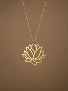 Lotus necklace  gold lotus flower necklace  blooming by BubuRuby