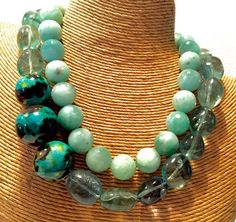 """The """"Caribbean Blues"""". 2 Necklaces nestled together"""