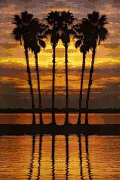 Tropical Sunset Cross stitch pattern PDF - EASY chart with one color per sheet AND traditional chart! Two charts in one! by HeritageChart on Etsy