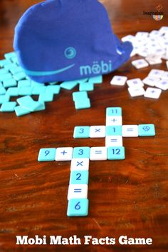 Möbi Math Facts Game -- a fun crossword style game to practice math facts!