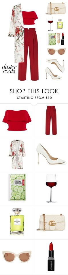 """""""refinada"""" by mimsaj ❤ liked on Polyvore featuring Reem Acra, RED Valentino, River Island, Jimmy Choo, Forever 21, iittala, Chanel, Gucci, Kendall + Kylie and Smashbox"""