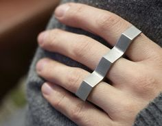Titanium Minimalist Hex Three Finger Geometric Ring by MayakDesign E Commerce, Vintage Engagement Rings, Vintage Rings, Silver Jewelry, Silver Rings, Men's Jewelry, Jewellery Rings, Hand Jewelry, Diamond Jewelry