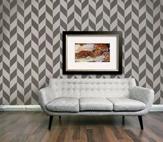 Wall Stencil Large Herringbone Stencil for a Modern Wallpaper Look. $34.00, via Etsy.