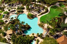 Aerial view of the pool area of the Westin Ka'anapali Ocean Resort Villas South