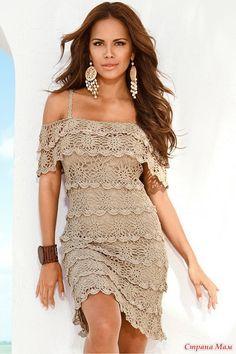 f257110d0f56b Вязаные платья летние Платье С Оборками, Связаные Крючком Платья, Выкройки  Платья Для Женщин,