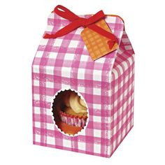 4 boîtes individuelles à cupcake vichy rose Meri Meri