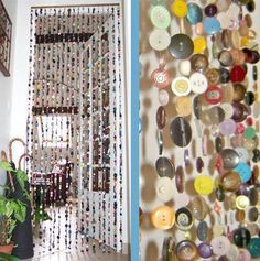 DIY - Door beads made from 2000 buttons!!!  Nice idea, just hope my hair wont get stuck in it ;)