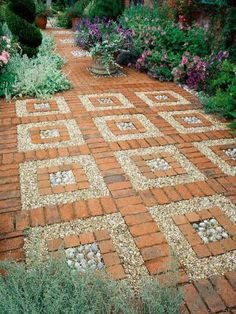 HGTV Gardens shows off the many ways gravel, pebbles, bark chips and other soft surfacing materials can look amazing in a garden design. - Simple way to build a mosaic. Adding interest to a BACKYARD PATIO. This might work to expand our hardscape ar Gravel Landscaping, Garden Paving, Garden Paths, Landscaping Ideas, Brick Garden Edging, Brick Pathway, Brick Paving, Paving Slabs, Stone Walkway