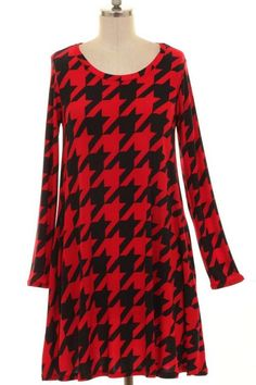 Red Houndstooth Tunic