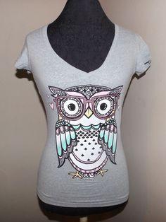 new Fith Sun nerdy smart wise trendy owl t-shirt  juniors xxl pop culture tattoo