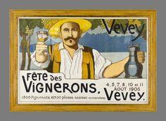 Fête des Vignerons, Vevey 1905 - Vintage Posters - Galerie 123 - The place to find vintage art Vevey, Lausanne, Evian Les Bains, Wine Vineyards, Wine Festival, Vintage Travel Posters, Vintage Advertisements, Vintage Art, Switzerland
