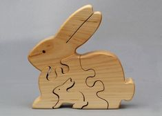 Rabbit Puzzle Wooden Toy for Kids Boys and Girls Wood Toys Waldorf Gifts Montessori Play Nontoxic Wooden Toys Bunny Toy Wooden Toys – Tik wood art Wood Projects, Woodworking Projects, Animal Puzzle, Into The Woods, Wooden Animals, Pull Toy, Waldorf Toys, Bunny Toys, Scroll Saw Patterns