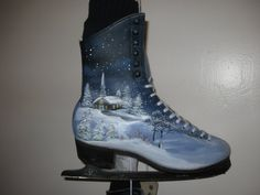 Ice Skates up-cycled and hand-painted by HandmadesbyJ on Etsy