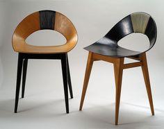 """Krzesła ze sklejki """"Muszelka"""", proj. Teresa Kruszewska, Spółdzielnia Artystów """"Ład"""", 1956."""