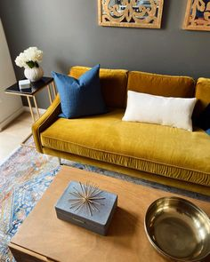 I designed and furnished an Airbnb and now I'm reallll sad I don't live there 😩 Come visit DC and stay in it! Sofa: Mirage Sofa in Yarrow Gold Living Room Sofa, Home Living Room, Living Room Decor, Living Room Color Schemes, Living Room Designs, Mustard Living Rooms, Gold Sofa, Küchen Design, Living Room Inspiration