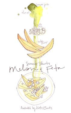 Melon and Feta so go together - an illustrated recipe by @katieeberts for eatboutique.com