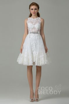 New Arrival: A-Line Illusion, Sleeveless, Knee Length Wedding Dress