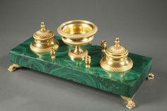 Encrier Double - Bronze Doré et Malachite - 19ème - 1850
