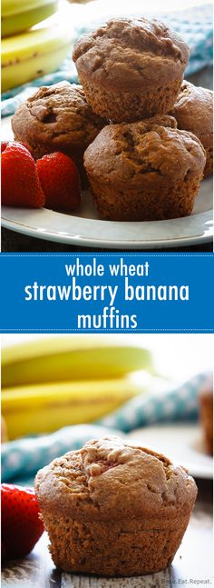 These whole wheat strawberry banana muffins are easy to make, light and fluffy muffins that are a healthy choice for breakfast or a snack!