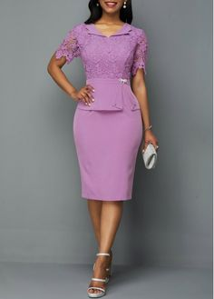 Bownot Decorated Back Slit Lace Patchwork Purple Dress - Mode - Summer Dress Outfits Latest African Fashion Dresses, Women's Fashion Dresses, Sexy Dresses, Casual Dresses, Fashion Clothes, Cheap Purple Dresses, Jw Moda, Lace Dress Styles, Summer Dress Outfits