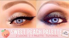 Sweet Peach Eye Shadow Looks | Too Faced Sweet Peach Palette | 2 Looks = 1 Palette Peachy Classic Cat Eye vs Deep Smokey Green Halo Eye Look | Peach Palette Tutorial @crystalhoytbeauty