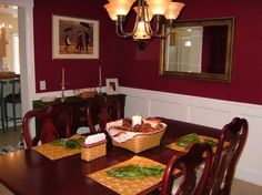 traditional home dining rooms | Red dining room with wainscoting | For the Home