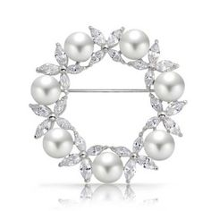 Bling Jewelry White Simulated Pearl Marquise CZ Wreath Pin Rhodium Plated * Read more reviews of the product by visiting the link on the image.