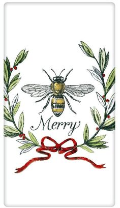 Merry Christmas Cotton Flour Sack Dish Towel Tea Towel Bee Merry Honeybee Dish Towel - A Love Of Dogs – For the Love Of Dogs - Shopping for a CauseBee Merry Honeybee Dish Towel - A Love Of Dogs – For the Love Of Dogs - Shopping for a Cause Merry Christmas, Vintage Christmas, Christmas Crafts, Vegan Christmas, I Love Bees, Bee Art, Bee Crafts, Bee Theme, Save The Bees