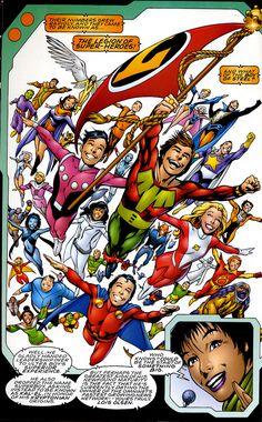 Alan Davis, Legion pin-up, Superboy's Legion, Elseworlds, classic costumes, Silver Age