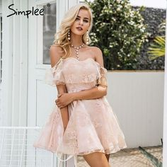 Off shoulder flower mesh dress women Elegant high waist backless mini dress Fashion strapless party dresses