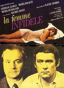 """""""La femme infidèle"""" de Claude Chabrol avec  Stephane Audran, Maurice Ronet et Michel Bouquet."""