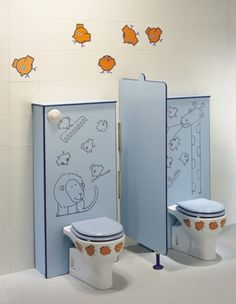 Fancy-Cheery-and-Gorgeous-Fun-Children-Bathroom-Design-Idea-with-Bird-Ornament-590x478