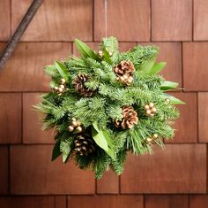 "We're giving mistletoe a run for its money with our new Evergreen Kissing Ball. This festive orb is a combination of fragrant noble fir, white pine, and bay leaves adorned with Australian pine cones and gold faux berries. Our kissing ball is 10"" in diameter, and will adorn your home indoors, or out, with a touch of holiday cheer."