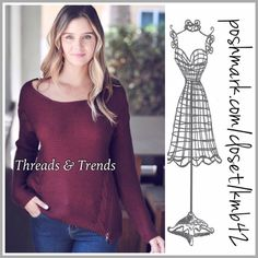 Slouchy Cabernet Knit Sweater Rich Cabernet knit sweater with zipper detail. Size S, M, L. Threads & Trends Sweaters Crew & Scoop Necks