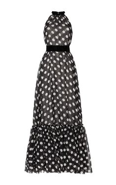 Dots Black Ivory Polka Dot Gown With Ruffle Bottom by Martin Grant
