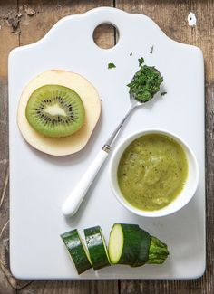 Zucchini + Apple + Kiwi Puree with Mint is a great refreshing puree for baby!