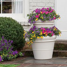 Think Big: Complement the scale of your home with the right size pots. Bonus: Larger containers mean you'll water less. Add paint: Customize your look by painting the pots to match the trim on your home. Apply two coats, and let dry completely prior to planting. Stack 'em up: Position the larger pot first, fill with potting soil, and then top with the smaller pot, placing it toward the back. Plant Smart: Place tall in the back, texture in the middle, and trailing toward the front.