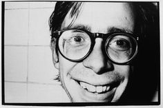 "Arto Lindsay (DNA)  Part of a bathroom photo series for a show at Parsons (Photo by Julia Gorton)  From the book ""No Wave"" by Thurston Moore and Byron Coley"